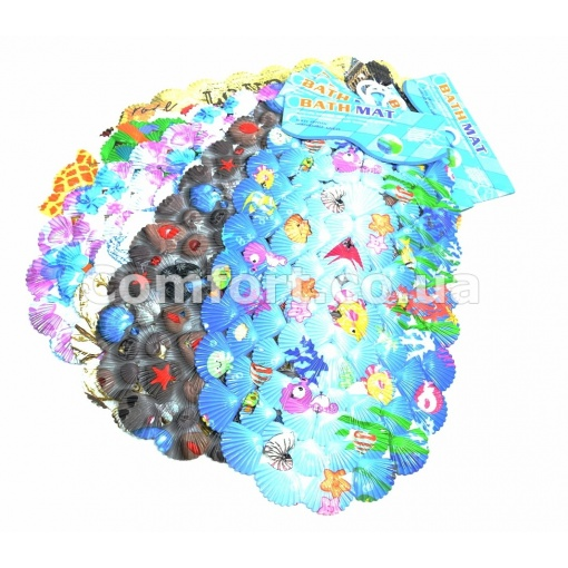 Коврик силикон BATH MAT ракушка цветной