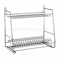 Сушилка металл для посуды трапеция 2-яр хром 40см