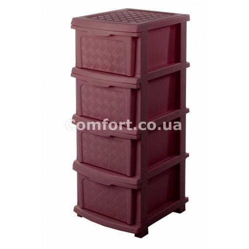 Комод plastic 4-яр в коробке коричневый