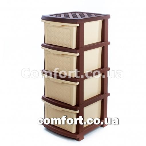 Комод plastic 4-яр в коробке бежево-коричневый