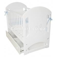 Кроватка детская белая Мишка со стразами Премиум-класса