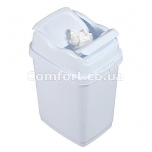 Ведро для мусора 09712 двойная крышка 10л белый цвет