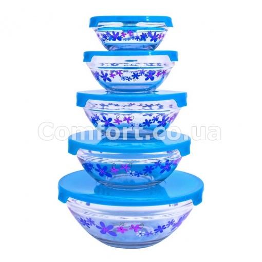 Судочки  0121 стекло 5шт с цветочками   (12)