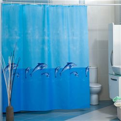 Штора Миранда WHALE голубая дельфины